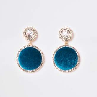 River Island Womens Turquoise gold tone rhinestone drop earrings