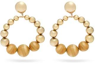 Rosantica By Michela Panero - Cicala Metal And Wood Hoop Drop Earrings - Womens - Gold