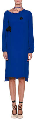 Marni Tie-Neck Long-Sleeve Woven Shift Dress