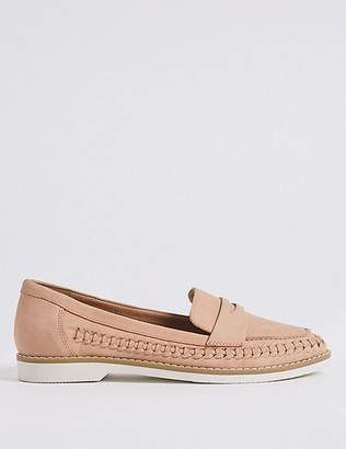 Marks and Spencer Leather Woven Side Detail Loafers