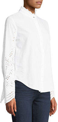 Xcvi Oxana Eyelet-Embroidered Button-Front Blouse