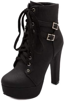 SJJH Ankle Boots with High Heel and Thick Platform Sexy Women Fashion Boots with Lace Up and Large