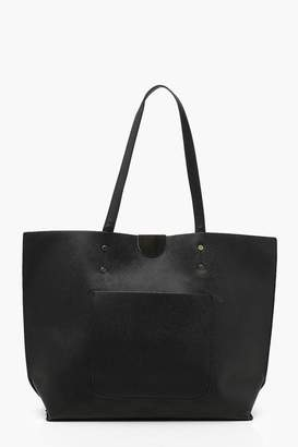 boohoo Large Crosshatch Pocket Tote