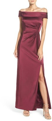 Women's Tahari Off The Shoulder Satin Gown $189 thestylecure.com