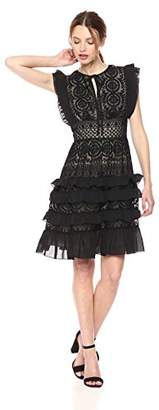 ML Monique Lhuillier Women's Embroidered Short Dress