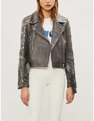 Free People Sequin-embellished leather biker jacket