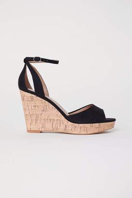 H&M Wedge-heel Platform Sandals - Black - Women