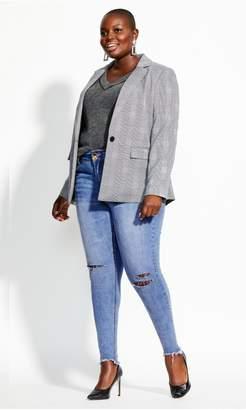 City Chic Citychic Asha Rip Knee Jean - denim