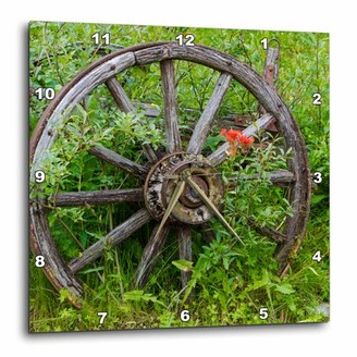 Columbia 3dRose Old wagon wheel in historic Barkersville, British Columbia, Canada., Wall Clock, 13 by 13-inch