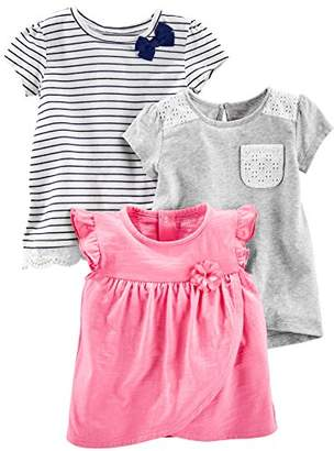 Carter's Simple Joys by Baby Girls' Toddler 3-Pack Short Sleeve Tops