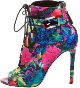 B Brian Atwood Satin Peep-Toe Ankle Boots $95 thestylecure.com