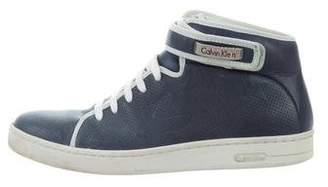 Calvin Klein Collection Leather High-Top Sneakers
