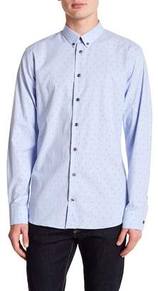 14th & Union Two-Tone Print Stretch Trim Fit Button Shirt