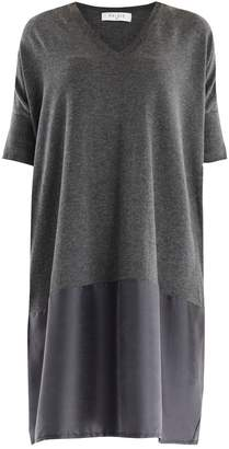 PAISIE - Relaxed Fit Knitted V-Neck Dress with Silk Panel in Dark Grey