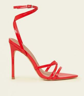 New Look Red Patent Pointed Open Toe Strappy Stilettos