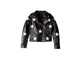Blank NYC Kids Vegan Leather Moto Jacket with Patchwork Star Detail in The End Game (Big Kids)