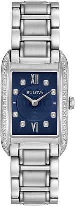 Bulova Women's Diamond Accent Stainless Steel Bracelet Watch 22x35mm 96R211 $499 thestylecure.com