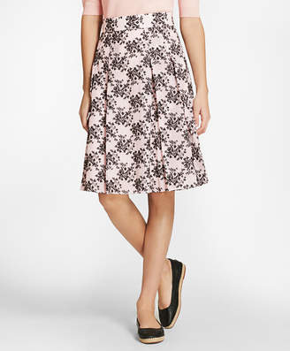 Brooks Brothers Floral-Embroidered Striped Cotton-Silk Jacquard Pleated Skirt