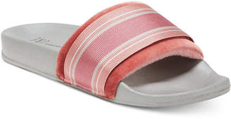 INC International Concepts I.n.c. Microvelour Varsity Slide Slippers