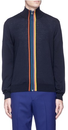 Paul Smith Paul Smith Contrast trim Merino wool zip cardigan
