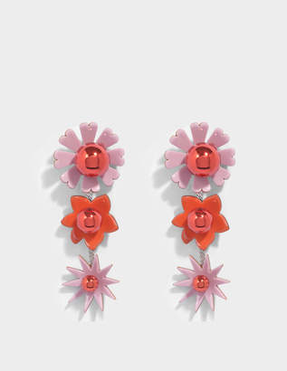 Kenzo Flowers Earrings in Paprika Metal and Plexi Flowers