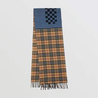 Burberry Vintage Check Colour Block Wool Cashmere Scarf