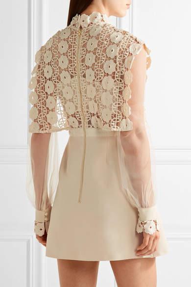Self-Portrait - Guipure Lace, Crepe And Tulle Mini Dress - Cream 2