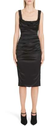 Dolce & Gabbana Ruched Stretch Silk Satin Body-Con Dress