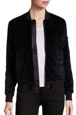 John + Jenn Quincy Reversible Velvet Bomber Jacket $198 thestylecure.com