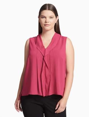 Calvin Klein plus size ruffle v-neck sleeveless top