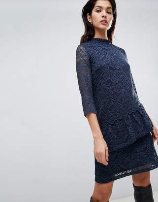 Vila high neck lace midi dress with asymmetric ruffle in navy