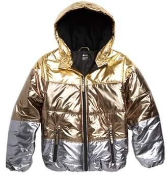 Zella Metallic Hooded Puffer Jacket