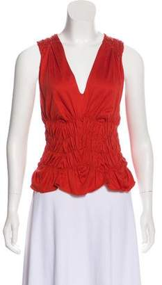 Saint Laurent Ruched Sleeveless Top