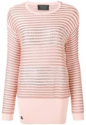 Philipp Plein crystal embellished striped jumper