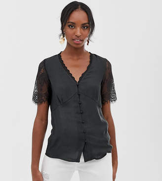 Y.A.S Tall button down blouse with lace detail