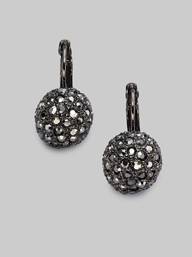 Kenneth Jay Lane Pavé Ball Earrings/Gunmetal