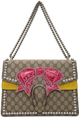 Gucci Brown Medium Crystal Bow Dionysus GG Bag