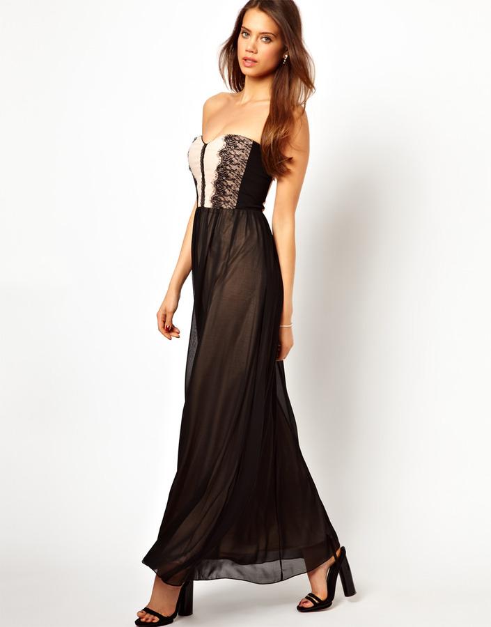 Elise Ryan Bandeau Maxi Dress in Lace