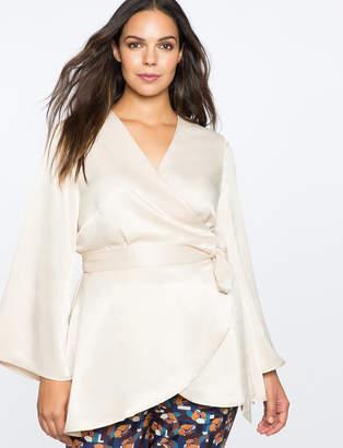 ELOQUII Silky Kimono Wrap Top
