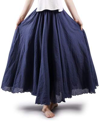 7cd4742a31758 OCHENTA Women s Bohemian Elastic Waist Cotton Floor Length Skirt