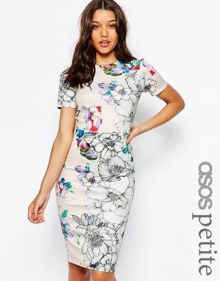 ASOS Petite ASOS PETITE Floral T-Shirt Scuba Bodycon Midi Dress $73 thestylecure.com