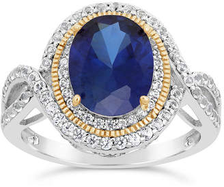 FINE JEWELRY Womens Lab Created Blue Sapphire Sterling Silver Oval Cocktail Ring