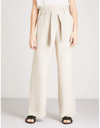 Maje Pachira wide-leg high-rise woven trousers