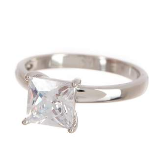 Argentovivo Sterling Silver Princess CZ Solitaire Engagement Ring