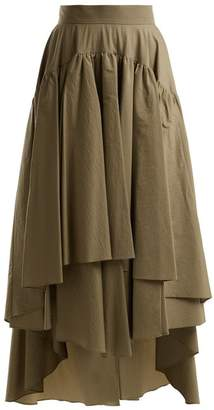 Brunello Cucinelli Layered Cotton Blend Midi Skirt - Womens - Tan