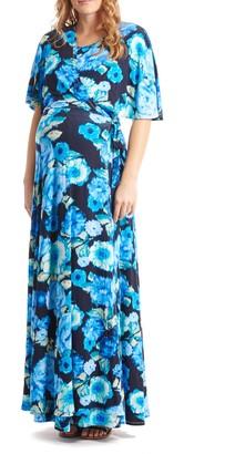 Everly Grey Asa Maternity/Nursing Maxi Wrap Dress