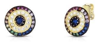 Sphera Milano 18K Yellow Gold Vermeil CZ Button Stud Earrings