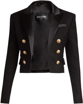 BALMAIN Satin-lapel cropped blazer $1,647 thestylecure.com