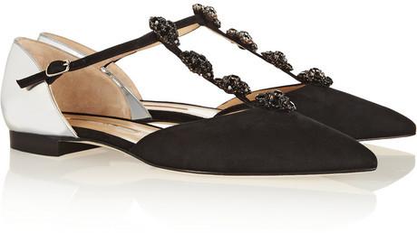 Oscar de la Renta Eve embellished suede and metallic leather point-toe flats