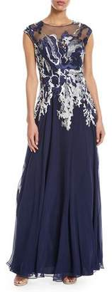 Rickie Freeman For Teri Jon Embellished illusion Button-Down Gown